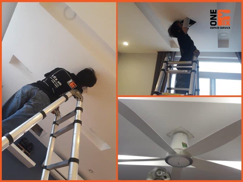 Nhân viên 1FIX™ lắp quạt lên trần thạch cao