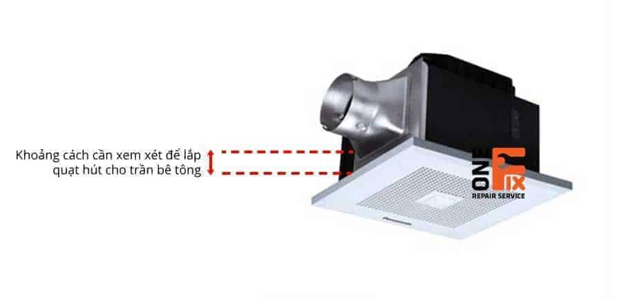 Khoảng cách cần kiểm tra để đảm bảo quạt hút âm trần có ống gió phù hợp với lớp bê tông dày bao nhiêu