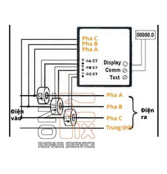 Cách đấu đồng hồ điện 3 pha