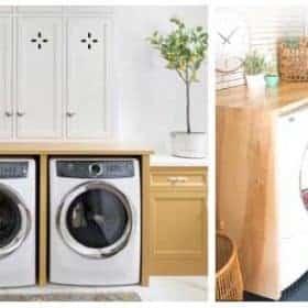 Làm kệ gỗ phía trên mặt đỉnh của máy giặt cửa trước để tận dụng làm nơi gấp quần áo