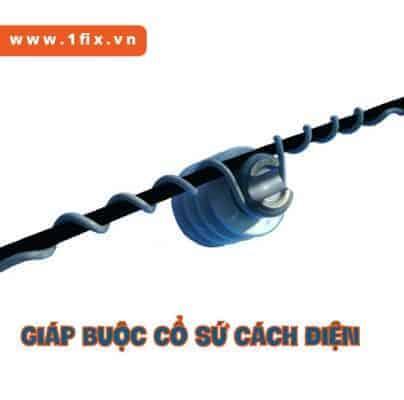 Giáp buộc dây cáp điện vào puli sứ cách điện