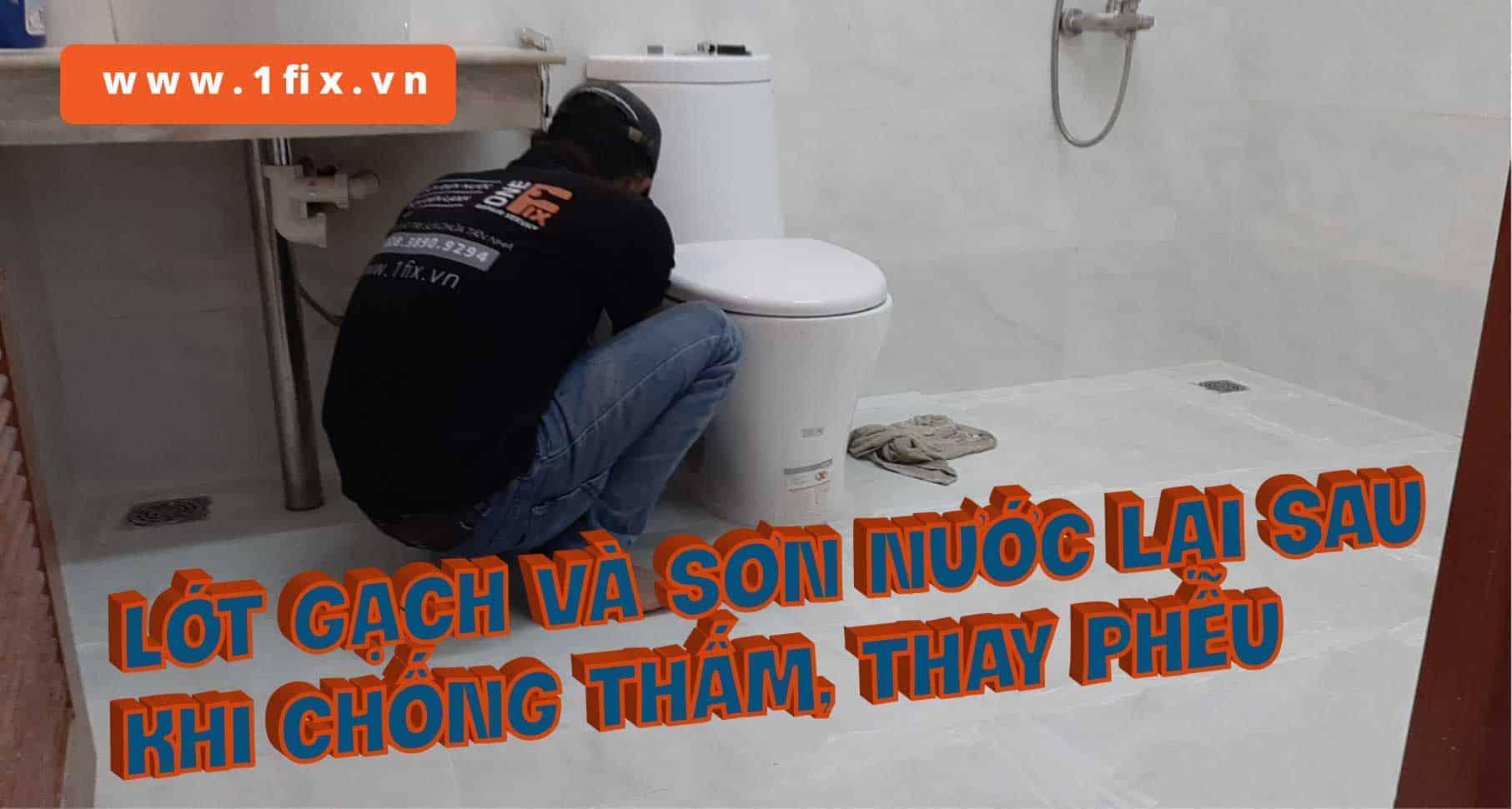Lót gạch lại, sơn nước, trả lại hiện trạng nhà vệ sinh như mới sau khi sửa chữa.