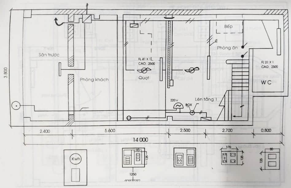 sơ đồ đi dây điện trong nhà cấp 4