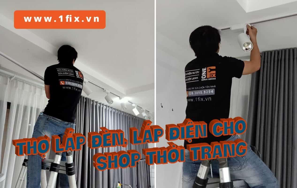 Thợ lắp đèn lắp điện cho shop