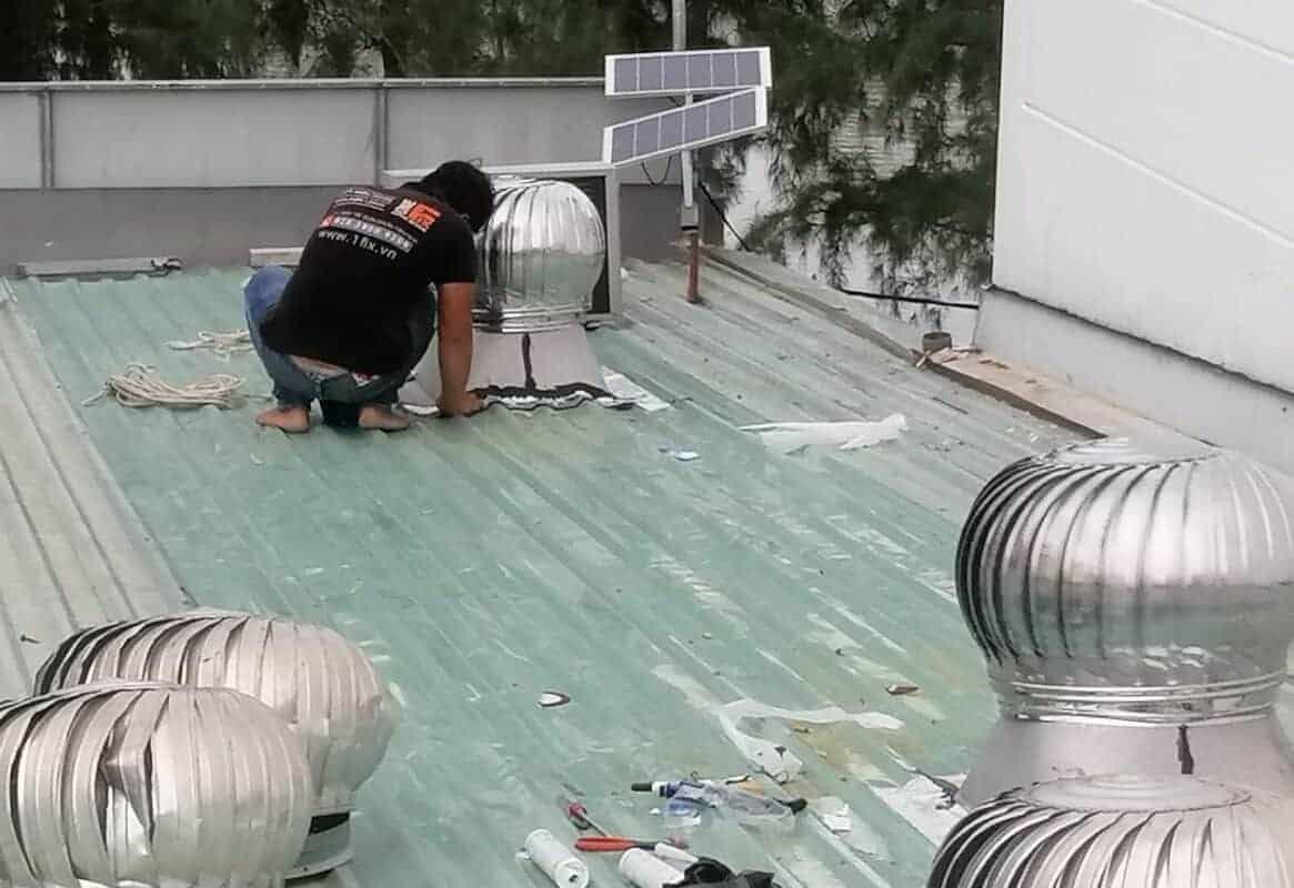 Thi công lắp đặt quả cầu thông gió